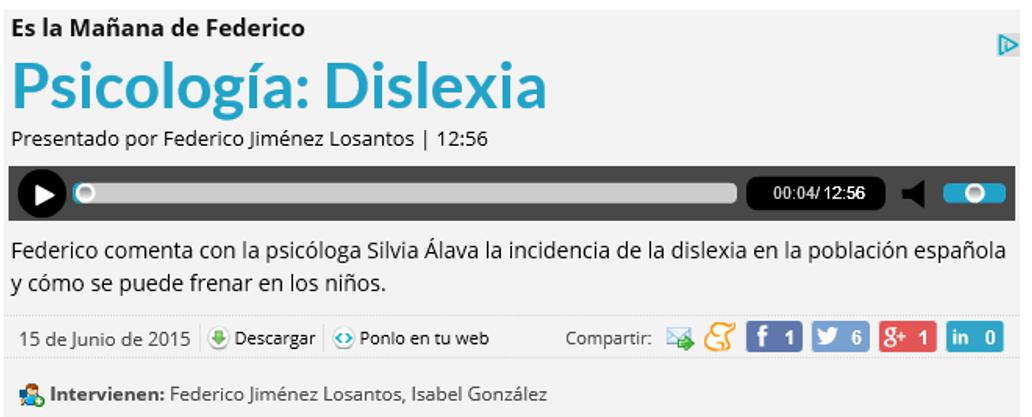 Dislexia - Es la Mañana de Federico - Silvia Álava